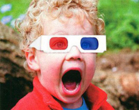 Kid with funny 3D glasses