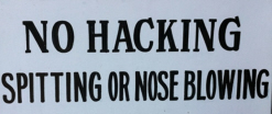 No hacking sign
