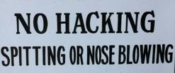 No hacking sign
