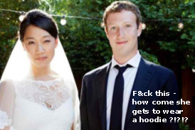 Zuckerberg wedding with bride no hoodie