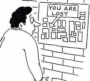 Your are here you are lost map cartoon