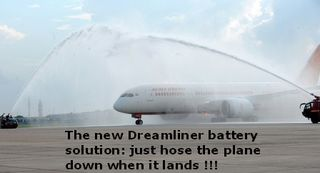 Dreamliner boeing 787 on runway under water spray