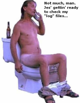 Hillbilly man on toilet