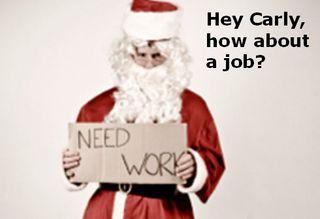 Unemployed santa need work sign