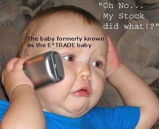 Baby on phone trading stocks