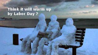 Snowmen on the beach