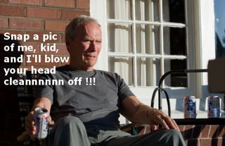 Clint eastwood drinking beer on porch